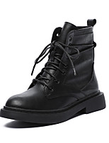 cheap -Women's Boots Block Heel Round Toe Booties Ankle Boots Casual Basic Daily Walking Shoes PU Solid Colored Black / Mid-Calf Boots