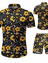 cheap -men's 2 piece tracksuit print flower hawaiian shirt casual button down short sleeve shirts and shorts
