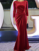 cheap -Sheath / Column Celebrity Style Minimalist Wedding Guest Formal Evening Dress Jewel Neck 3/4 Length Sleeve Sweep / Brush Train Velvet with Draping 2020