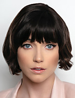cheap -Synthetic Wig Curly Bob With Bangs Wig Short Dark Brown Synthetic Hair Women's Fashionable Design Highlighted / Balayage Hair Exquisite Brown