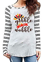 cheap -gobble til you wobble shirt for women stripe long sleeve raglan baseball t-shirt cute turkey graphic tees grey
