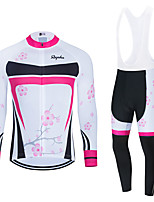 cheap -WECYCLE Men's Women's Long Sleeve Cycling Jersey Cycling Tights Winter White Black Black / White Floral Botanical Bike Breathable Quick Dry Sports Floral Botanical Mountain Bike MTB Road Bike Cycling