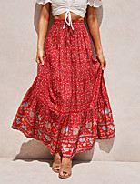 cheap -Women's Casual / Daily Active Skirts Floral Print Red Fuchsia Dusty Blue / Maxi / Loose