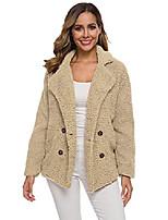 cheap -women's open front fleece fluffy jacket oversized casual lapel coat with pockets, khaki, s