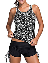 cheap -women racerback mesh tankini swimsuit with shorts strappy 2 piece bathing suit athletic print top black s