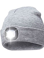 cheap -unisex rechargeable 4 led knitted beanie hat for camping, fishing, grilling, auto repair, jogging, walking, or handyman working, hands free led beanie cap extremely bright (gray)