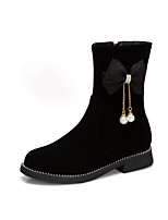 cheap -Girls' Boots Flower Girl Shoes Christmas Suede Big Kids(7years +) Daily Party & Evening Pearl Black Spring Winter / Mid-Calf Boots / Rubber
