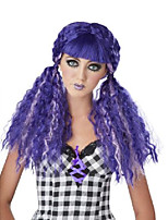 cheap -women's crimped doll wig, purple, one size