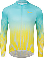 cheap -21Grams Men's Long Sleeve Cycling Jersey Winter Fleece Polyester Green Gradient Bike Jersey Top Mountain Bike MTB Road Bike Cycling UV Resistant Fleece Lining Breathable Sports Clothing Apparel