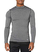 cheap -men's control tech thermal long-sleeve mock shirt, charcoal heather, x-small
