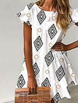 cheap -Women's A-Line Dress Short Mini Dress - Short Sleeve Geometric Ruffle Print Summer Casual 2020 White S M L XL XXL