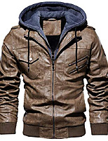 cheap -men's vintage removable hooded slim motorcycle faux leather bomber jacket (large, khaki)