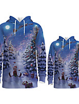 cheap -Daddy and Me Active Santa Claus Graphic 3D Print Print Long Sleeve Regular Hoodie & Sweatshirt Blue