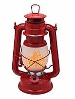 cheap -flame effect 17-led metal oil lamp,vintage style hurricane lantern(red)