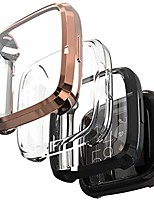 cheap -case compatible fitbit versa 2 screen protector, (3 pack) full coverage soft tpu case slim screen protective bumper cover saver shell for fitbit versa 2 smartwatch(black/rose gold/clear)