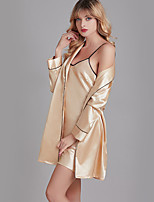 cheap -Women's Home Imitated Silk Loungewear Belt Included Solid Colored S Gold