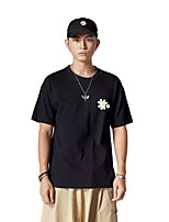 cheap -Men's Graphic T-shirt Print Short Sleeve Daily Tops Cotton Basic Round Neck Black