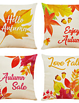 cheap -Set of 4 Hello Autumn Print Linen Square Decorative Throw Pillow Cases Sofa Cushion Covers