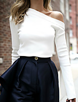 cheap -Women's Blouse Solid Colored Long Sleeve Patchwork One Shoulder Tops Elegant Basic Top White