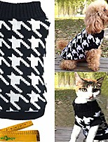 cheap -dogs & cats pet sweater pullover houndstooth knitwear elegant warm knitted turtleneck black & white medium