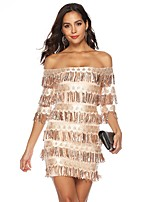 cheap -Women's Sheath Dress Short Mini Dress - Half Sleeve Solid Color Sequins Tassel Fringe Summer Off Shoulder Sexy Party Slim 2020 Gold S M L XL XXL