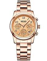cheap -luxury rose gold stainless steel strap watches women fashion chronograph quartz wristwatch ladies 24-hour waterproof watch for girls