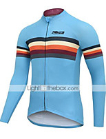 cheap -21Grams Men's Long Sleeve Cycling Jacket Winter Sky Blue Bike Jacket Mountain Bike MTB Road Bike Cycling Breathable Warm Sports Clothing Apparel / Stretchy