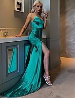 cheap -Mermaid / Trumpet Minimalist Sexy Prom Formal Evening Dress Spaghetti Strap Sleeveless Court Train Spandex with Ruched Split 2020
