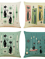 cheap -Set of 4 Cute Cat Linen Square Decorative Throw Pillow Cases Sofa Cushion Covers 18x18