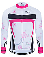 cheap -WECYCLE Men's Women's Long Sleeve Cycling Jersey Winter Polyester White Floral Botanical Bike Jersey Top Mountain Bike MTB Road Bike Cycling Breathable Quick Dry Reflective Strips Sports Clothing