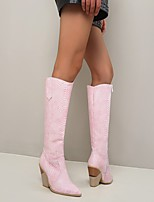 cheap -Women's Boots Block Heel Boots Cowboy Western Boots Chunky Heel Pointed Toe Knee High Boots Vintage Sweet Punk & Gothic Daily Walking Shoes Faux Leather Sequin Animal Patterned Snake Yellow Blue Pink