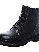 cheap -Women's Boots Wedge Heel Round Toe Booties Ankle Boots Casual Basic Daily Walking Shoes Leather Solid Colored Black / Booties / Ankle Boots / Booties / Ankle Boots