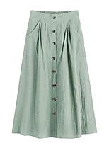 cheap -women's vintage pleated elastic waist cotton midi skirt with pocket light green xl