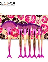 cheap -store 7pcs oval makeup brush set foundation eyebrow eyeliner blush eyeshadow brush cosmetic concealer brushes+makeup bag (b)