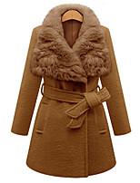 cheap -Women's Fall & Winter Coat Long Solid Colored Daily Active Wool Camel XXL 3XL 4XL 5XL