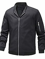 cheap -men's bomber jacket lightweight slim fit casual zipper softshell flight jackets coat black 3xl