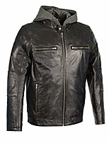 cheap -sfm1850 men's black snap collar leather moto jacket with removable hoodie - 2x-large