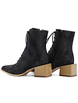 cheap -Women's Boots Block Heel Boots Chunky Heel Round Toe Booties Ankle Boots Classic Daily Walking Shoes PU Lace-up Solid Colored Black Yellow Red / Mid-Calf Boots