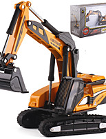 cheap -1:87 Alloy Excavator Toy Truck Construction Vehicle Pull Back Vehicle Simulation Music & Light All Adults Kids Car Toys
