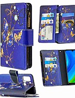cheap -Case For Huawei Honor 9X Lite P Smart 2020 P40 Lite Wallet Card Holder with Stand Full Body Cases Purple Butterfly Painted Zipper Bag PU Leather TPU for Huawei P30 Lite P40 Pro P40 Lite E