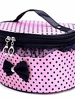 cheap -cosmetic makeup storage,large portable zipper travel makeup cosmetic bag organizer holder top handle-dot print with bow lace decor (pink)