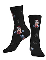 cheap -Crew Socks Compression Socks Calf Socks Athletic Sports Socks Cycling Socks Men's Women's Bike / Cycling Breathable Soft Comfortable 1 Pair Santa Claus Cotton Black S M L / Stretchy