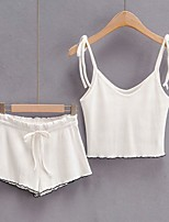 cheap -Women's Solid Color Two Piece Set Strap Tank Pant Backless Drawstring Tops
