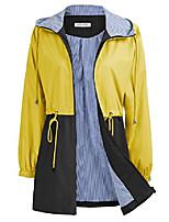 cheap -women's rain jacket lightweight drawstring hooded jacket color block windbreaker light blue l