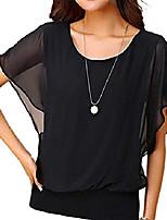 cheap -womens round neck casual chiffon blouse and top summer short sleeve shirts tunics (x-large, black)