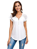 cheap -womens short sleeve zip up tunic lace shoulder casual fitting shirt blouse tops white