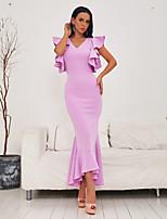 cheap -Sheath / Column Elegant Beautiful Back Party Wear Prom Dress V Neck Sleeveless Ankle Length Spandex with Ruffles 2020
