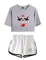 cheap -Inspired by Naruto Cosplay Akatsuki Uchiha Itachi Outfits Crop Top Pure Cotton Print Printing Shorts For Women's