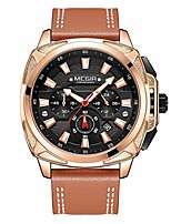 cheap -chronograph men sport watch leather army military watches quartz wristwatches (gold)