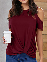 cheap -Women's T-shirt Solid Colored Round Neck Tops Basic Basic Top Black Red Gray